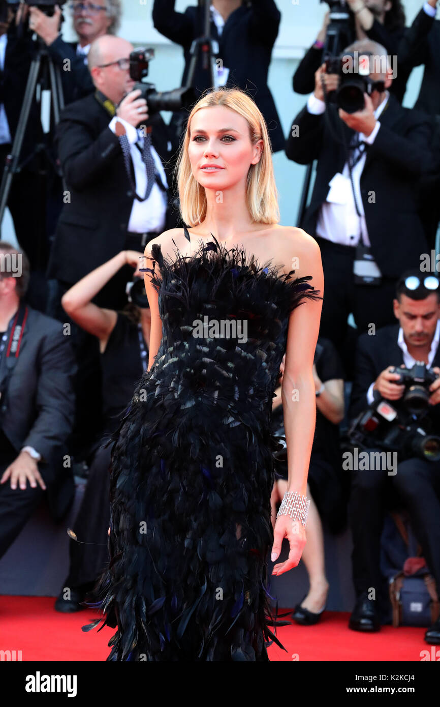 Venice, Italy. 30th Aug, 2017. VENICE, ITALY - AUGUST 30: Model Renata Kuerten arrives for the opening ceremony of the 74th Venice Film Festival and the premiere of the movie 'Downsizing', on August 30, 2017 at Venice Lido. Credit: Graziano Quaglia/Alamy Live News - Stock Image