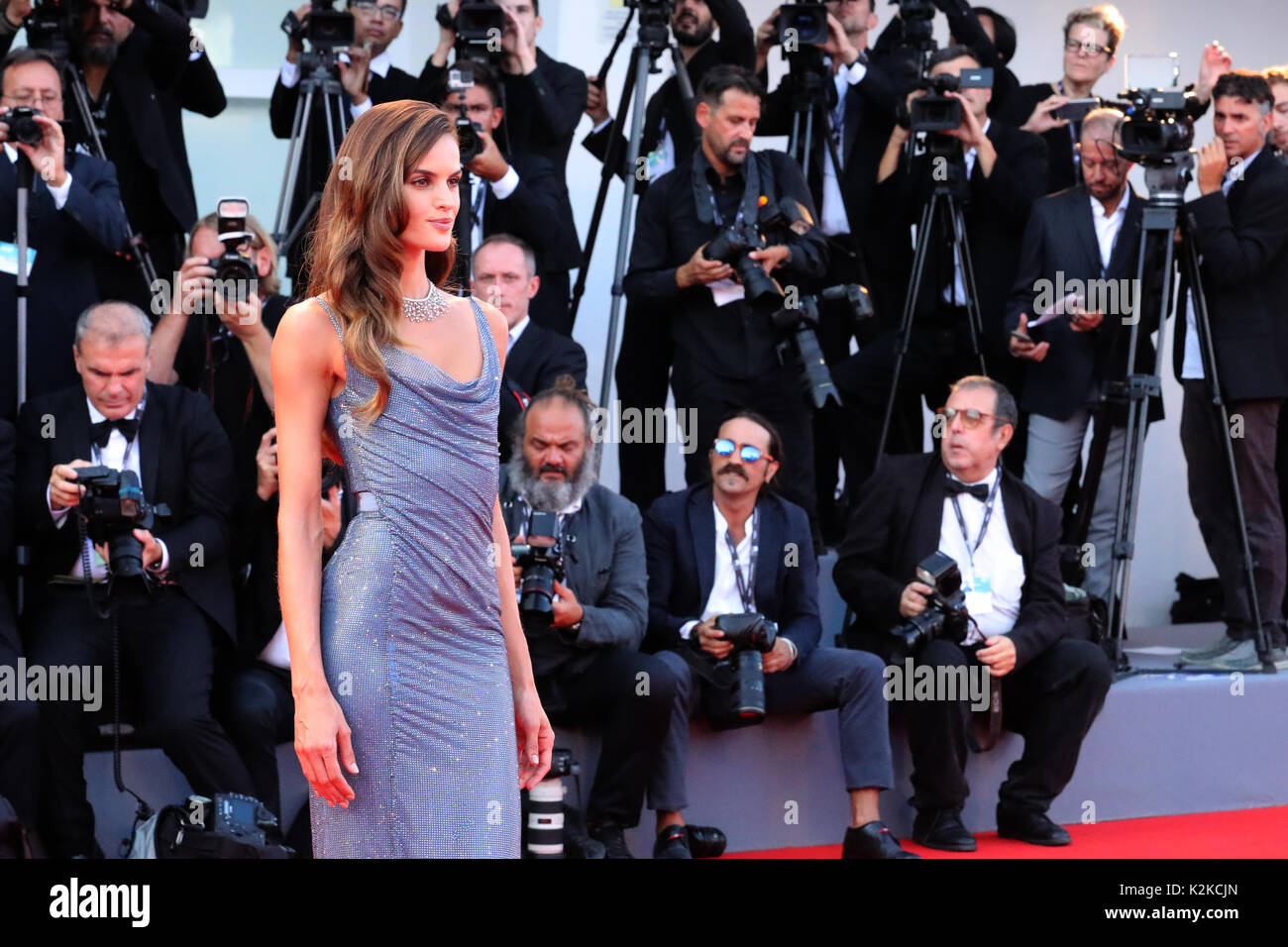 Venice, Italy. 30th Aug, 2017. VENICE, ITALY - AUGUST 30: Izabel Goulart walks the red carpet ahead of the 'Downsizing' screening and Opening Ceremony during the 74th Venice Film Festival at Sala Grande on August 30, 2017 in Venice, Italy. Credit: Graziano Quaglia/Alamy Live News - Stock Image