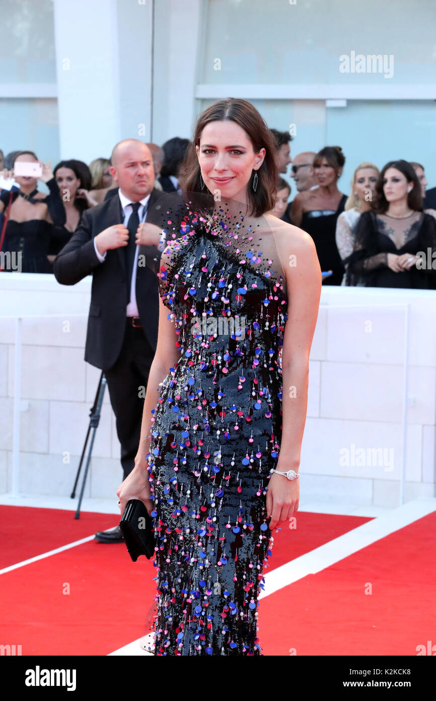 Venice, Italy. 30th Aug, 2017. VENICE, ITALY - AUGUST 30: Rebecca Hall walks the red carpet ahead of the 'Downsizing' screening and Opening Ceremony during the 74th Venice Film Festival at Sala Grande on August 30, 2017 in Venice, Italy. Credit: Graziano Quaglia/Alamy Live News - Stock Image