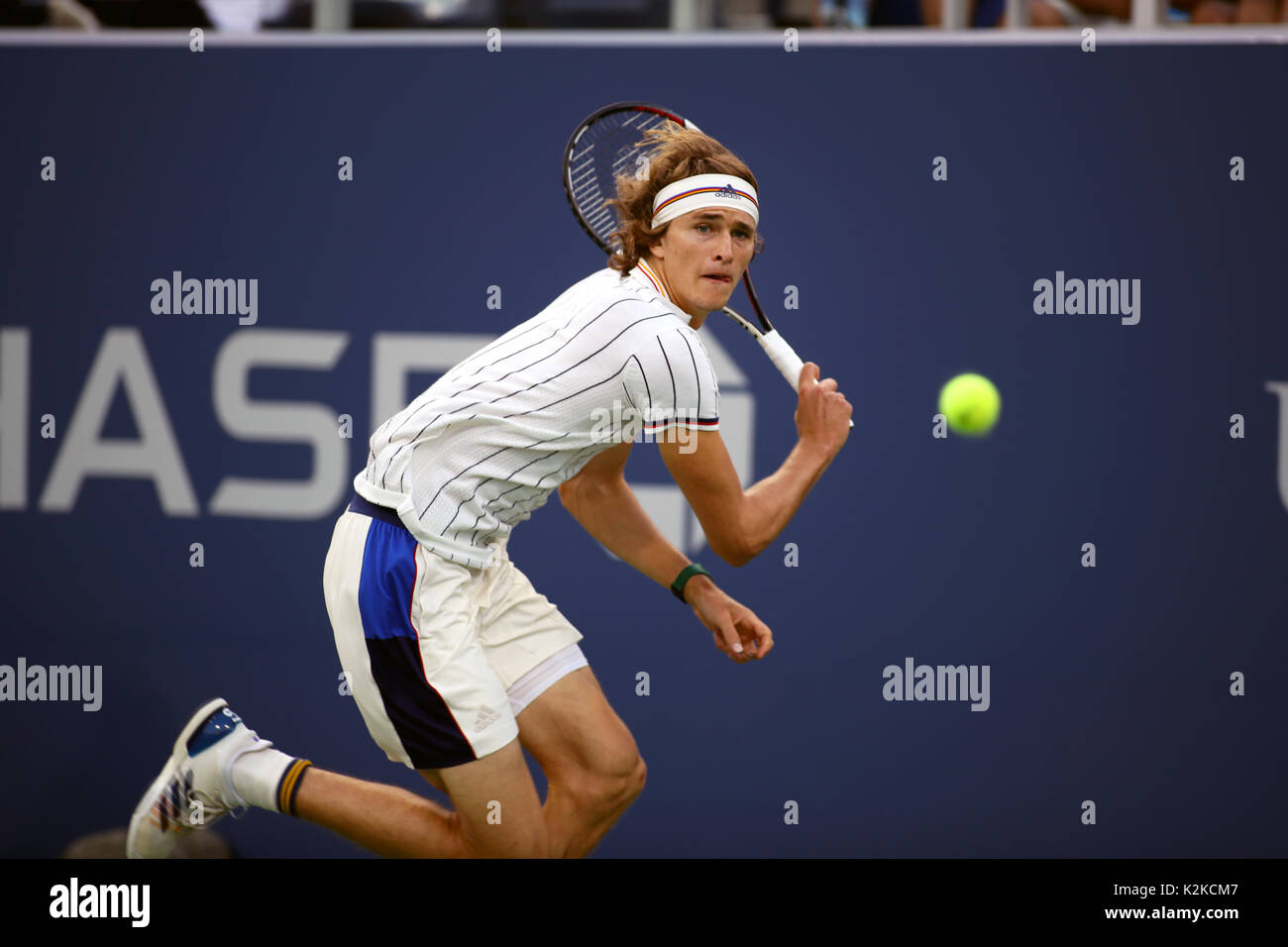 New York, United States. 30th Aug, 2017. US Open Tennis: New York, 30 August, 2017 - Germany's Alexander Zverev - Stock Image
