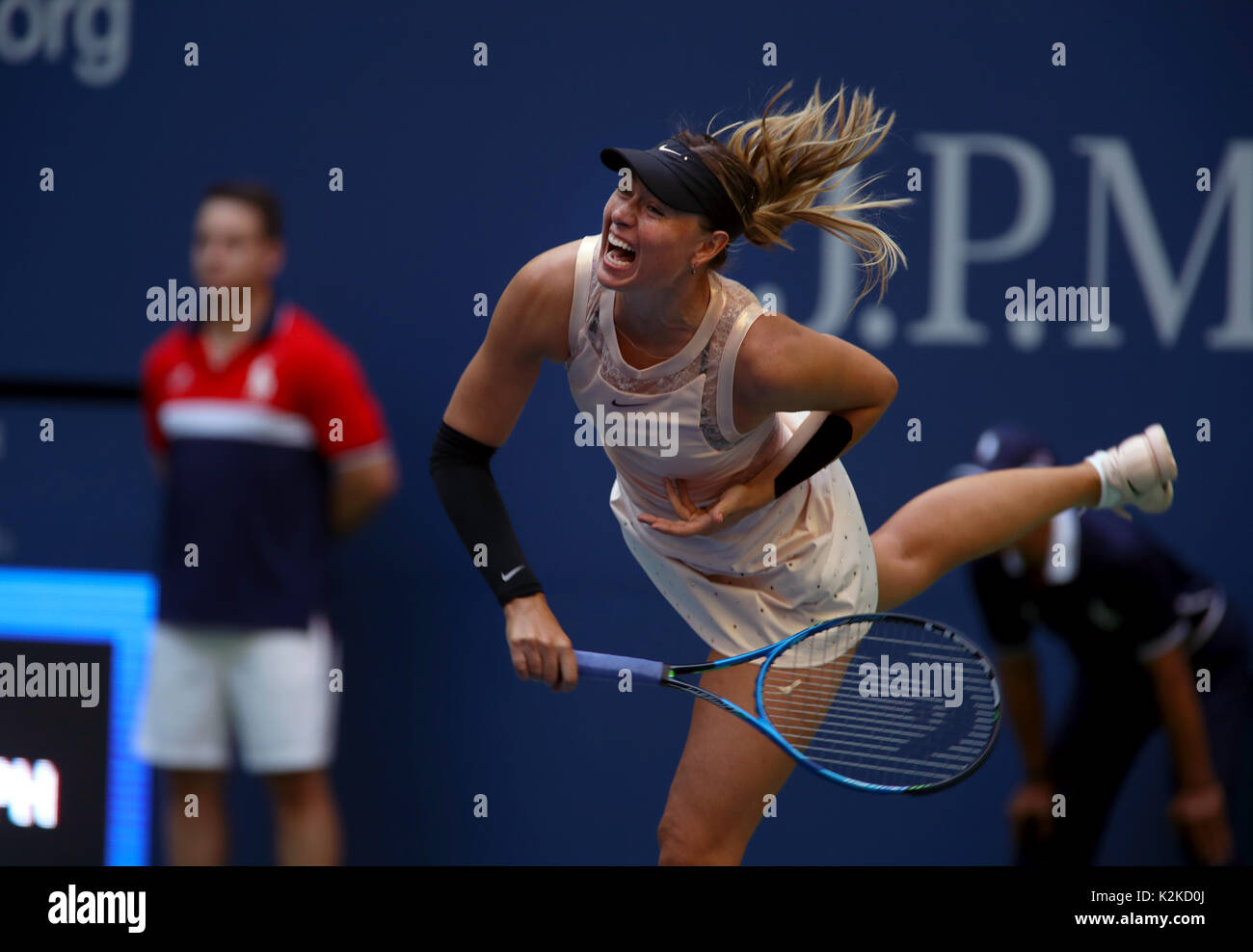 New York, United States. 30th Aug, 2017. US Open Tennis: New York, 30 August, 2017 - Maria Sharapova serving during her second round match against Timea Babos of Hungary during their second round match at the US Open in Flushing Meadows, New York. Sharapova won the match in three sets. Credit: Adam Stoltman/Alamy Live News - Stock Image