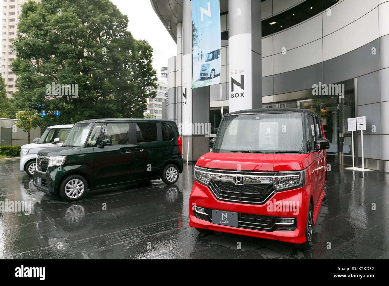 Honda Motor Cos New N BOX Mini Vehicles On Display Outside Its Headquarters August 31 2017 Tokyo Japan The Is First Vehicle