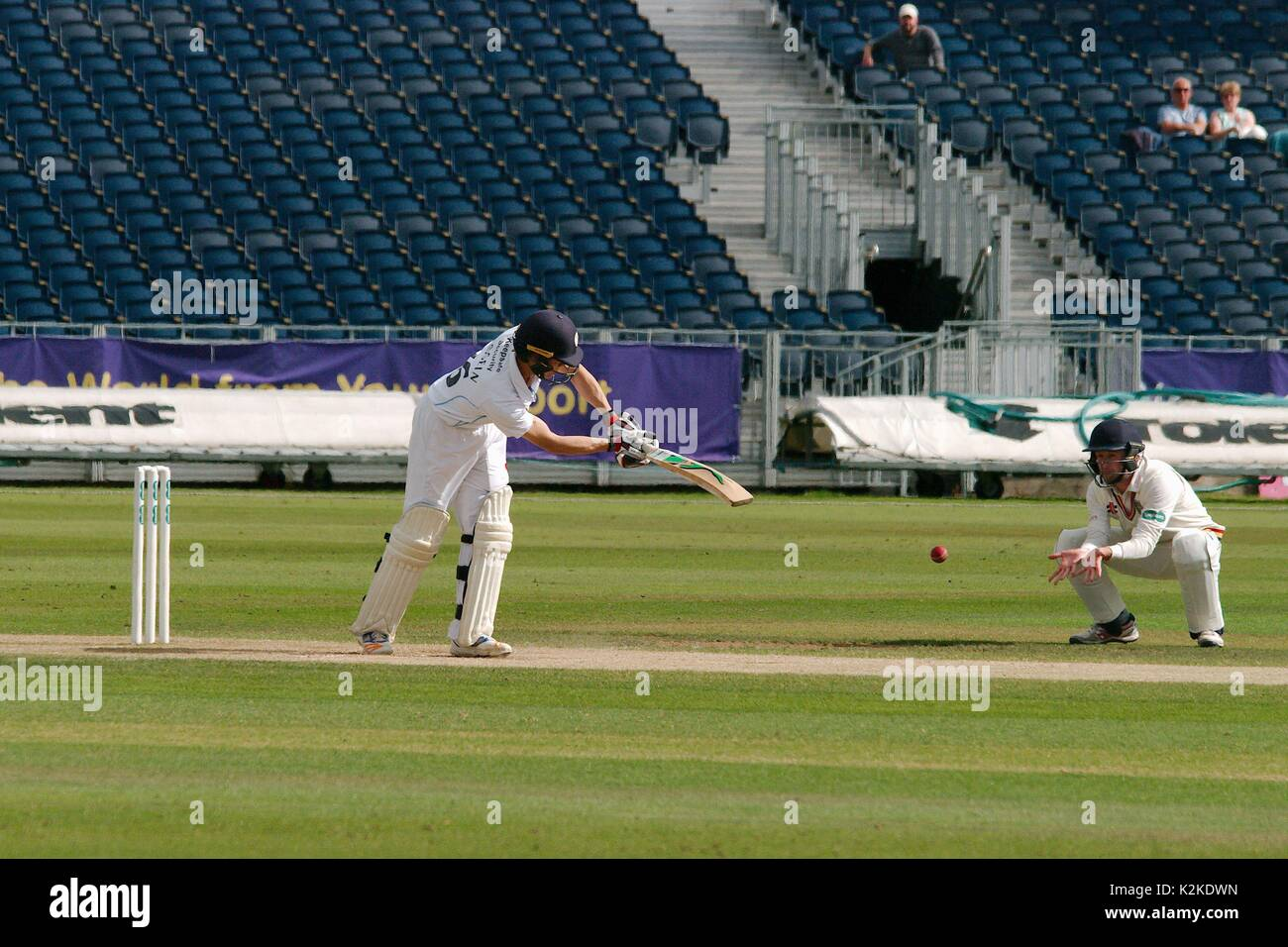 Chester le Street, UK. 31st Aug, 2017. Derbyshire batsman Harvey Hosein guides the ball past a Durham close in fielder in the Specsavers County Championship Division 2 match at Emirates Riverside, Chester le Street. Credit: Colin Edwards/Alamy Live News - Stock Image