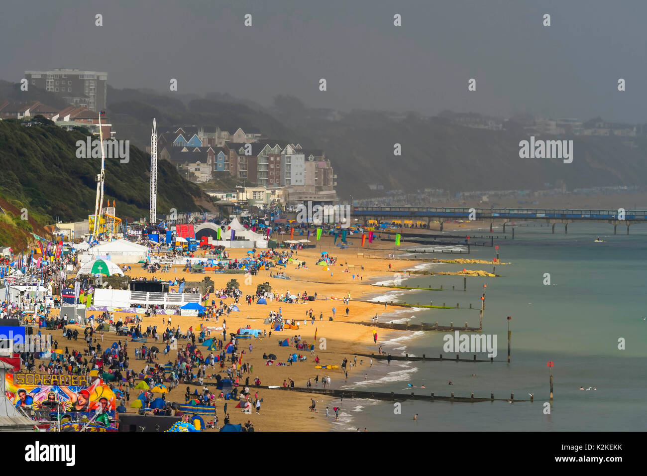 Bournemouth, Dorset, UK. 31st Aug, 2017. UK Weather. View along the beach as the torrential rain passed over and the sun begins to come out again at the seaside resort of Bournemouth in Dorset on the first day of the air festival. Photo Credit: Graham Hunt/Alamy Live News - Stock Image