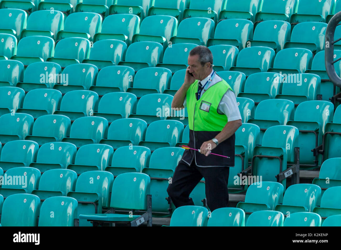 London, UK. 31st Aug, 2017. An arrow which was shot onto the pitch is carried by a steward at the oval and the crowd is evacuated. David Rowe/ Alamy Live News - Stock Image
