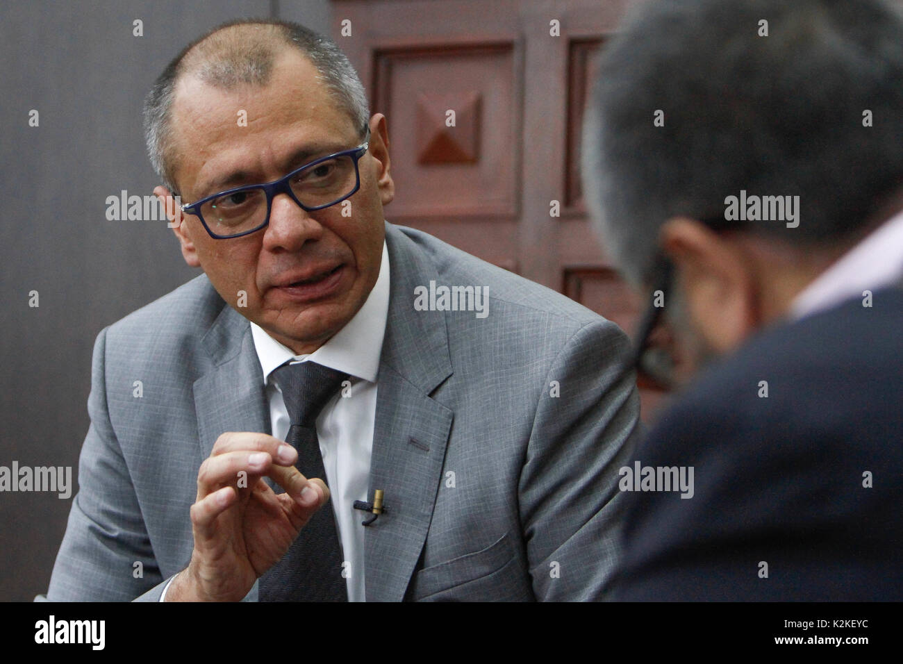 Quito, Ecuador. 30th Aug, 2017. The vice-president Jorge Glas, photographed in his office in Quito, Ecuador, 30 - Stock Image