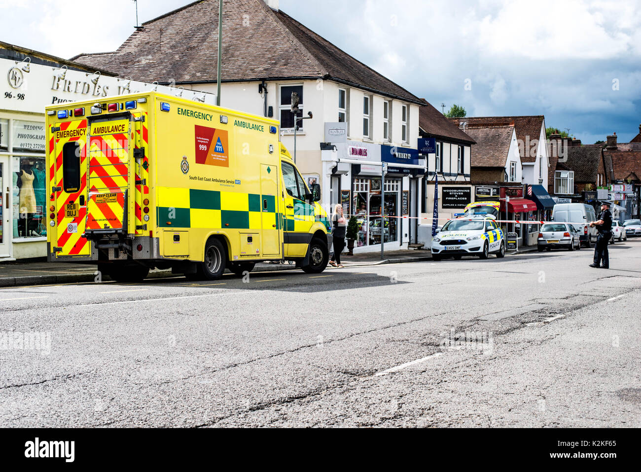 The Street, Ashtead, Surrey, United Kingdom, 31st August 2017. Emergency Serives Attend the scene of a serious Road Stock Photo