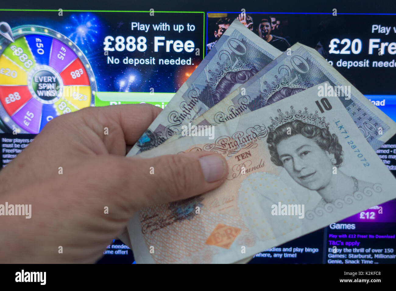 31st August 2017. Online bookmaker 888 has been fined a record £7.8 million following the discovery of 'significant flaws' in it's social responsibility processes, which aim to protect consumers from gambling-related harm. A Gambling Commission probe found that, due to a technical failure, over 7,000 people who had chosen to self-exclude were still able to access their accounts and deposit a total of £3.5 million. Credit: Mick Flynn/Alamy Live News - Stock Image