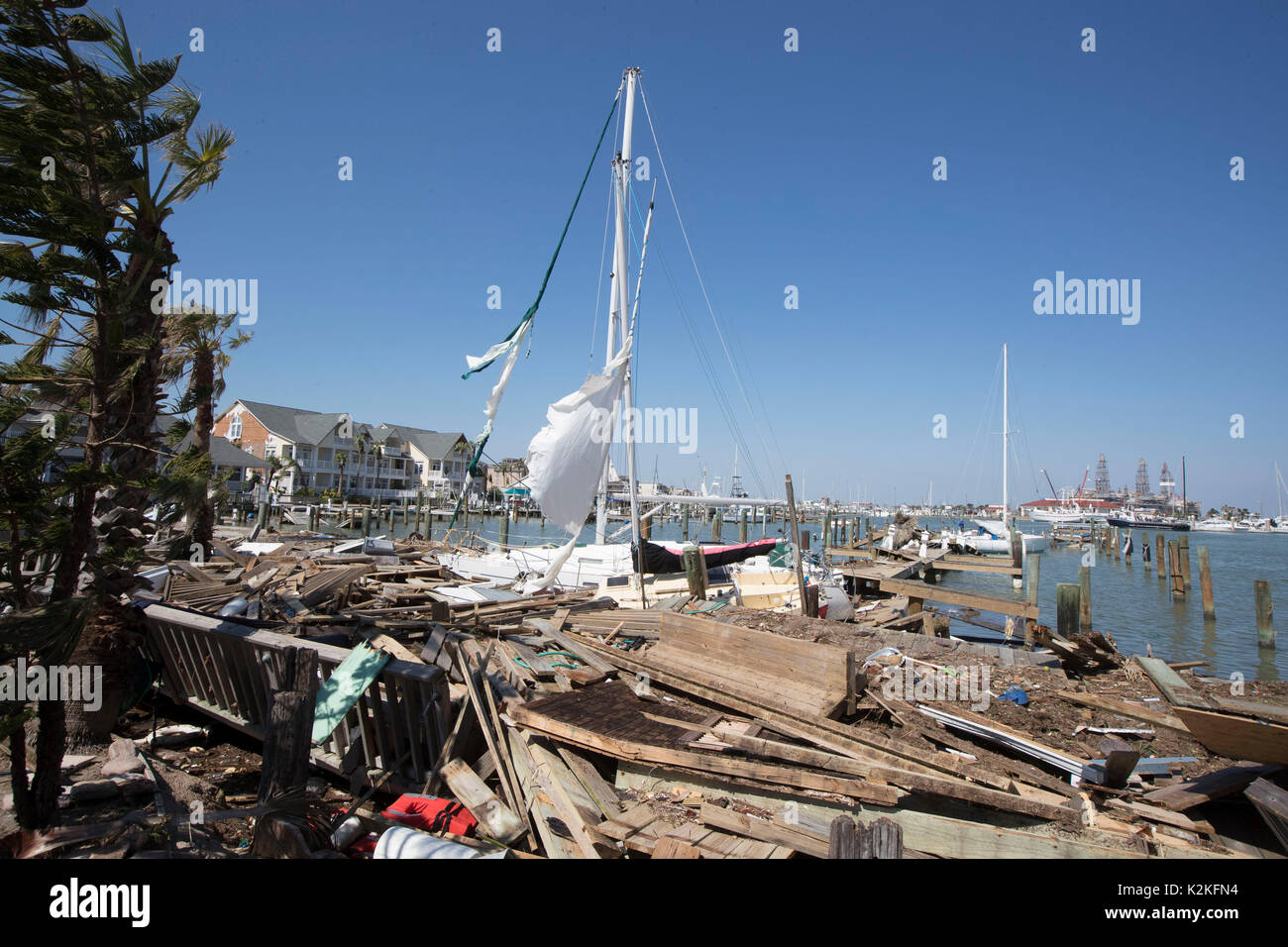Port Aransas, Texas USA. 30th Aug, 2017. Docks and pleasure crafts extensively damaged by Hurricane Harvey's hit Stock Photo