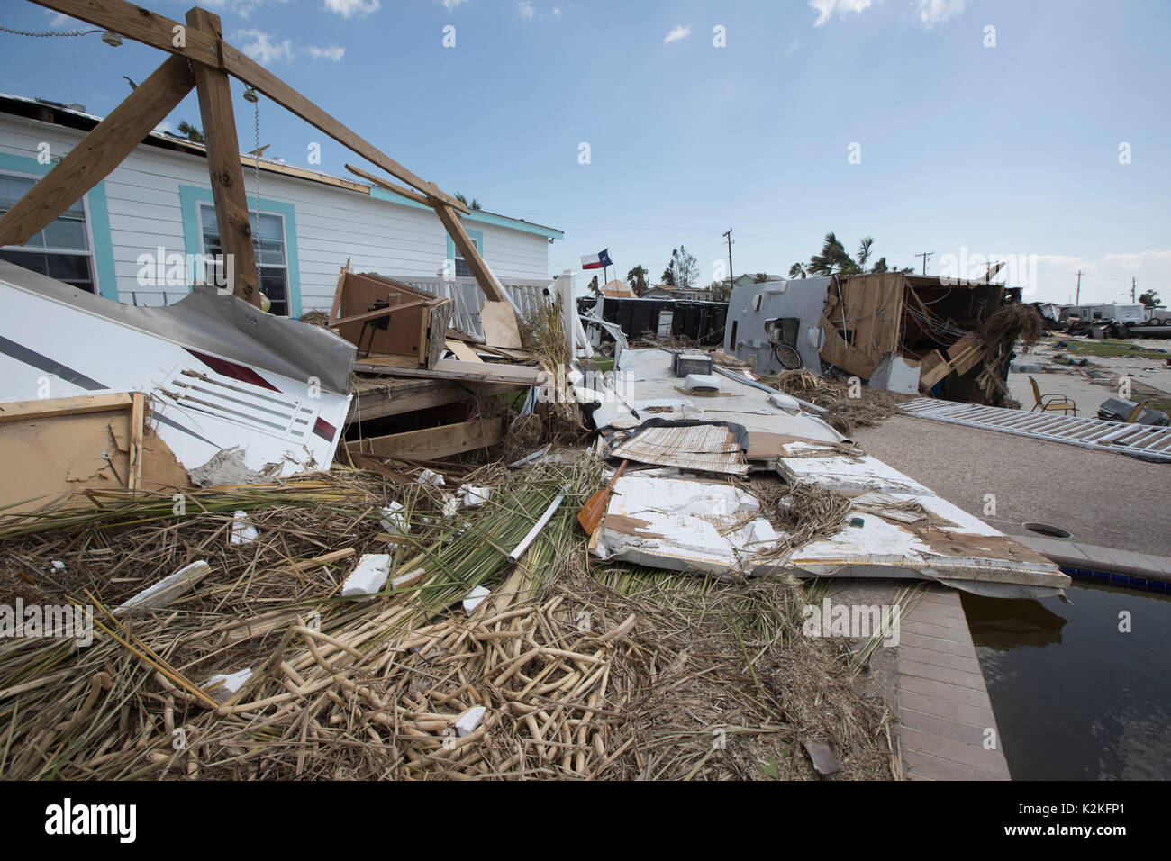 Port Aransas, Texas USA. 30th Aug, 2017. Extensive damage from Hurricane Harvey's hit almost a week ago litters Stock Photo