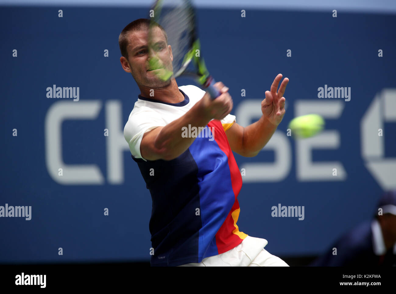 New York, USA. 31st Aug, 2017. Mikhail Youzhny of Russia in action against Roger Federer of Switzerland during their Second round match at the US Open in Flushing Meadows, New York. Credit: Adam Stoltman/Alamy Live News - Stock Image