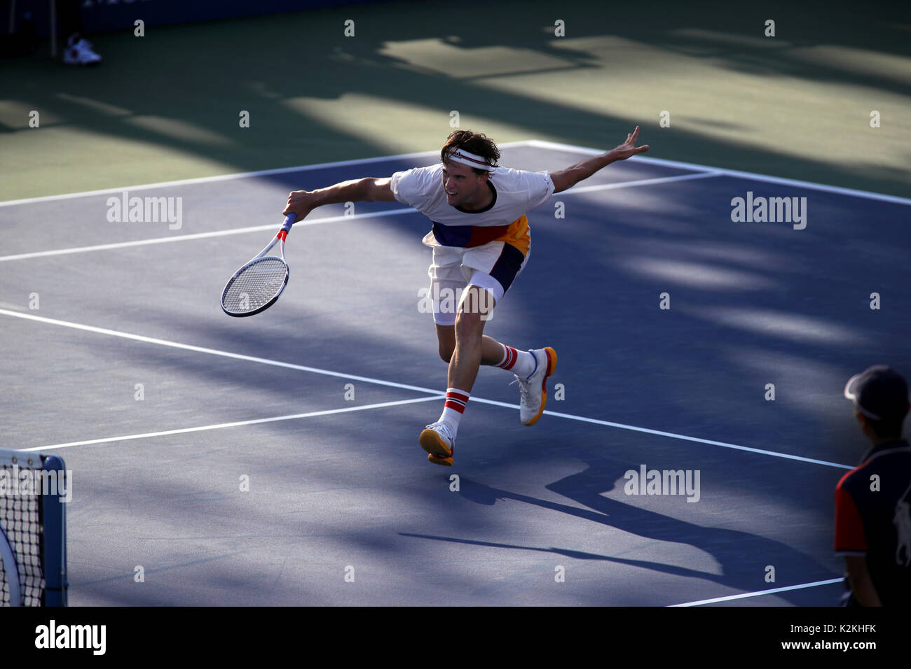 New York, United States. 31st Aug, 2017. US Open Tennis: New York, 31 August, 2017 - Austria's Dominic Thiem during Stock Photo