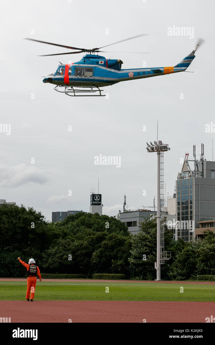 Tokyo, Japan. 1st Sep, 2017. Tokyo Governor Yuriko Koike descends on a helicopter during a Disaster Countermeasure Emergency drill on September 1, 2017, Tokyo, Japan. The drill marks the anniversary of the Great Kanto earthquake that struck the Japanese main island of Honshu on September 1, 1923. Credit: Rodrigo Reyes Marin/AFLO/Alamy Live News - Stock Image
