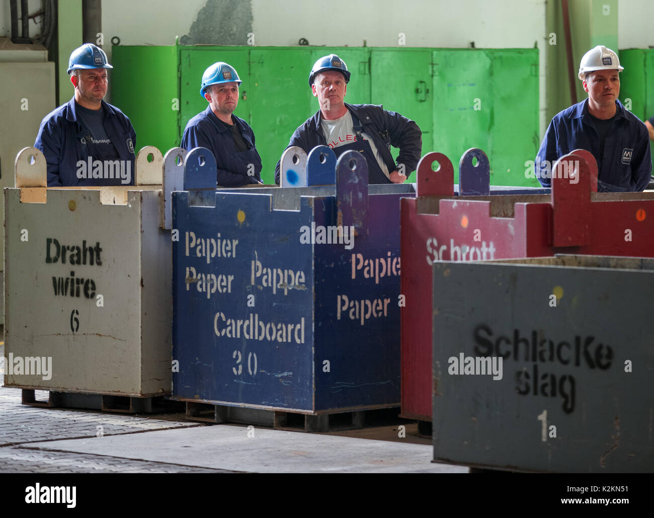Wismar, Germany. 1st Sep, 2017. Shipyard employees watch the ceremonial start of his apprenticeship in Wismar, Germany, Stock Photo