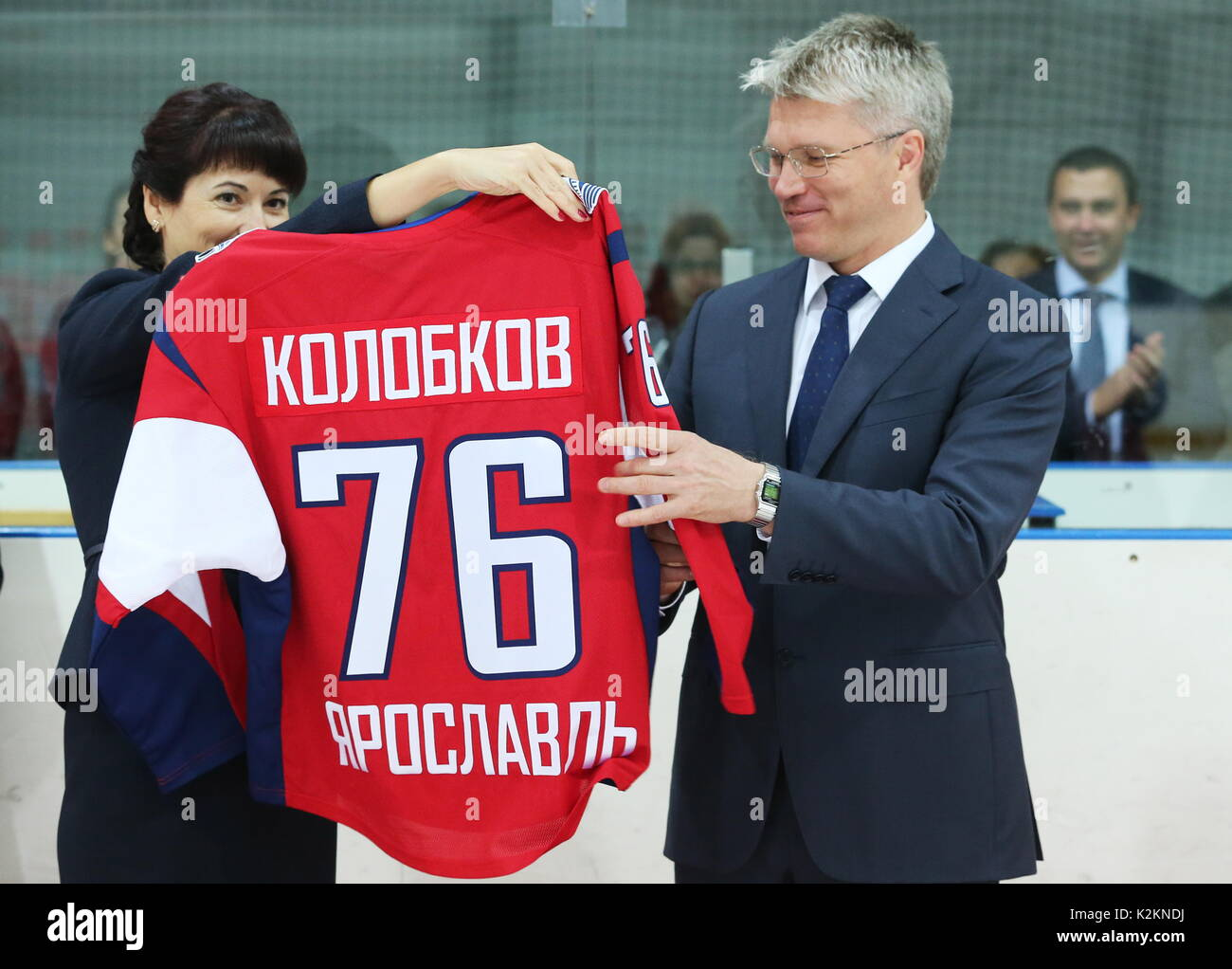 Yaroslavl, Russia. 1st Sep, 2017. Russian Sport Minister Pavel Kolobkov (R) and the school's director Yelena Krosheva visit an ice hockey arena of State Olympic Reserve Ice Hockey School. Credit: Vladimir Gerdo/TASS/Alamy Live News - Stock Image