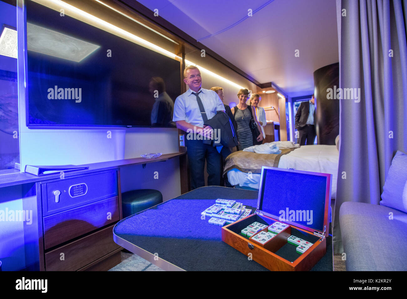 Wismar, Germany. 1st Sep, 2017. Guests of the opening party inspect the first passenger cabin on the production Stock Photo
