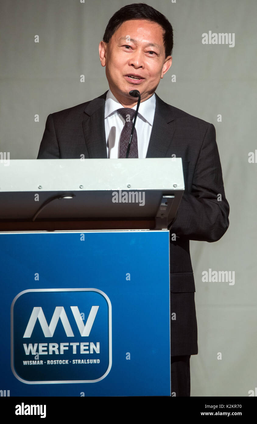 Wismar, Germany. 1st Sep, 2017. The chairman of the Malaysian Genting Group Colin Au speaks during the opening of Stock Photo