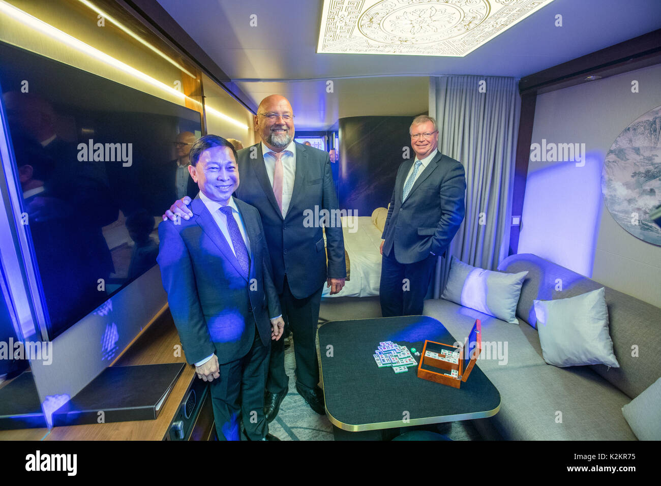 Wismar, Germany. 1st Sep, 2017. The chairman of the Malaysian Genting Group Colin Au (L) and the minister of economy Stock Photo