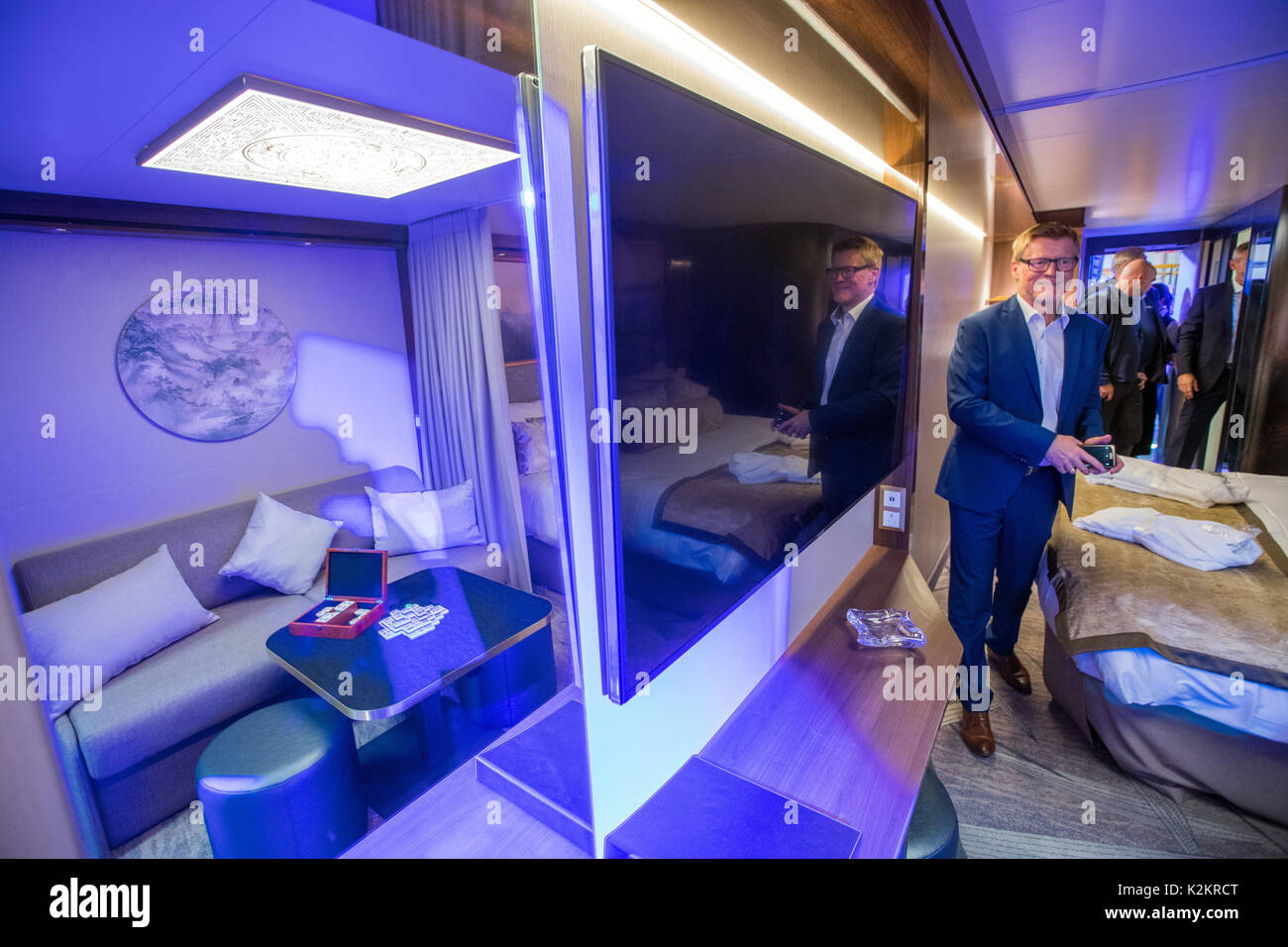 Wismar, Germany. 1st Sep, 2017. Guests of the opening festivities inspect the first passenger cabin on the production Stock Photo