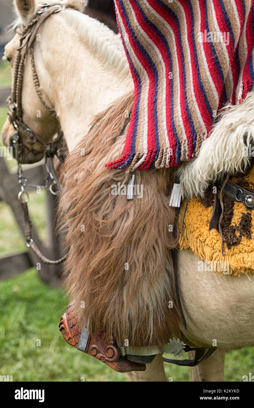 June 3, 2017 Machachi, Ecuador: closeup traditional chaps and poncho cowboy wear in the Andes - Stock Image