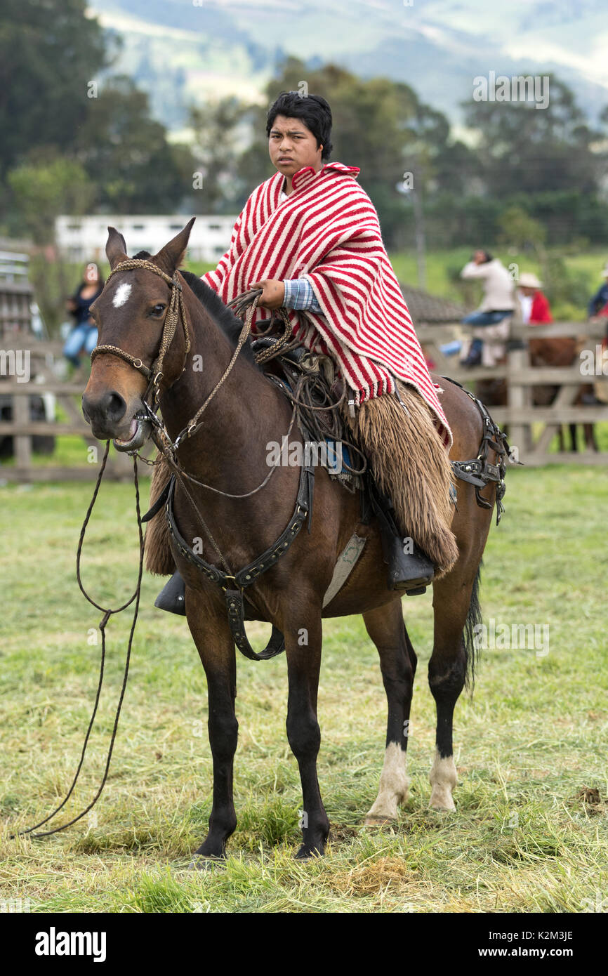 June 3, 2017 Machachi, Ecuador: Andean cowboy on horseback wearing chaps and poncho - Stock Image