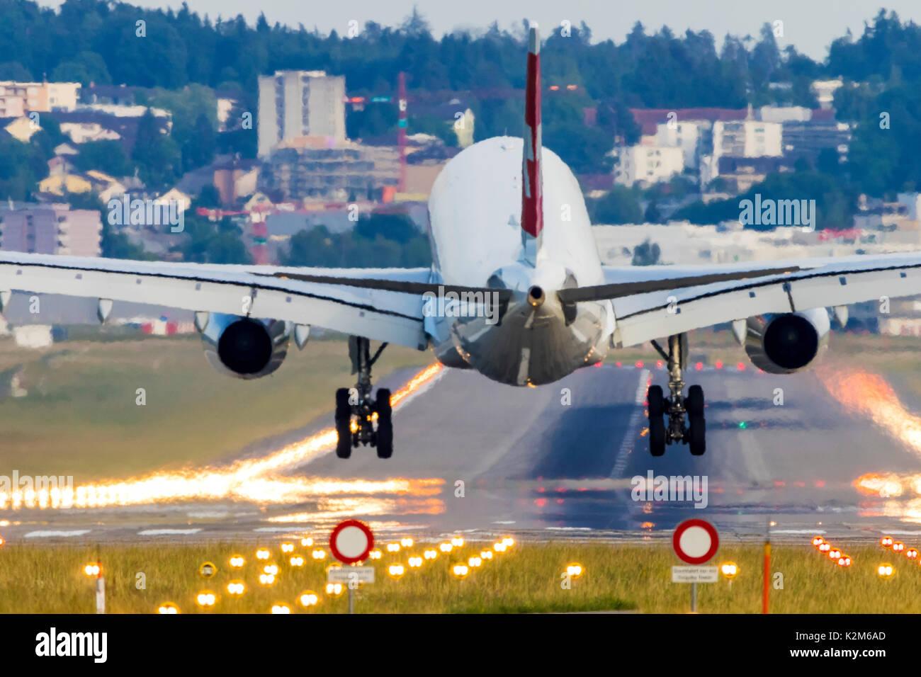 Zurich Airport, ZRH, landing plane. - Stock Image
