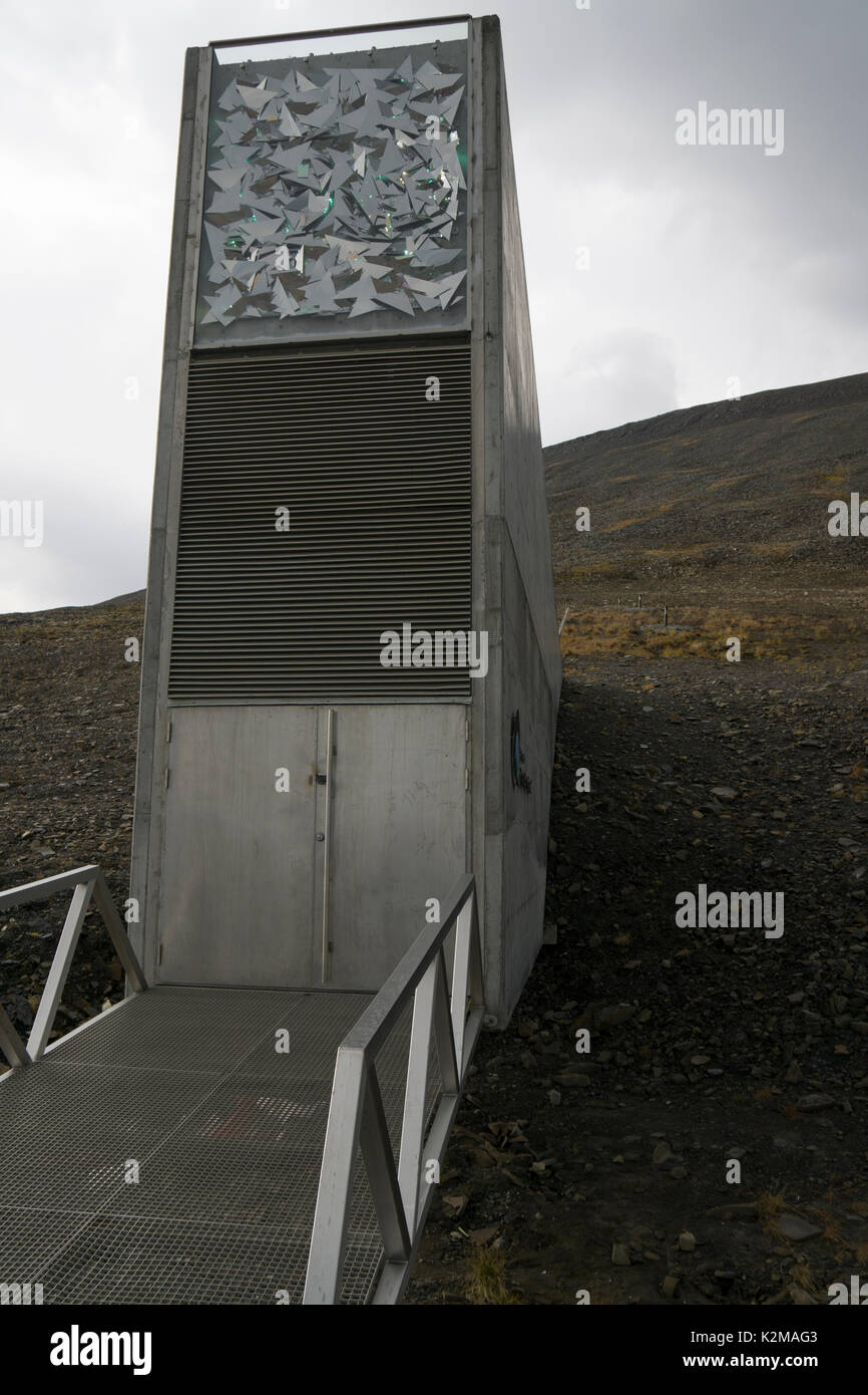Outside the Global Seed Vault in Svalbard. Front of the entrance. Eingang zum Global Seed Vault von außen. - Stock Image