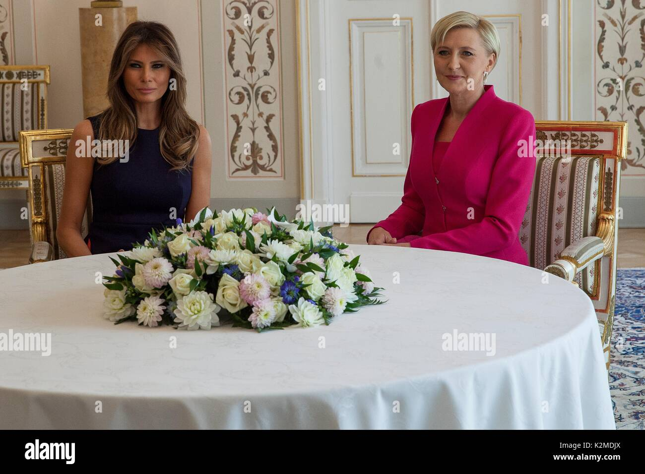 U.S. First Lady Melania Trump, left, with Polish First Lady Agata Kornhauser-Duda during a meeting at the Belweder Palace July 6, 2017 in Warsaw, Poland. - Stock Image