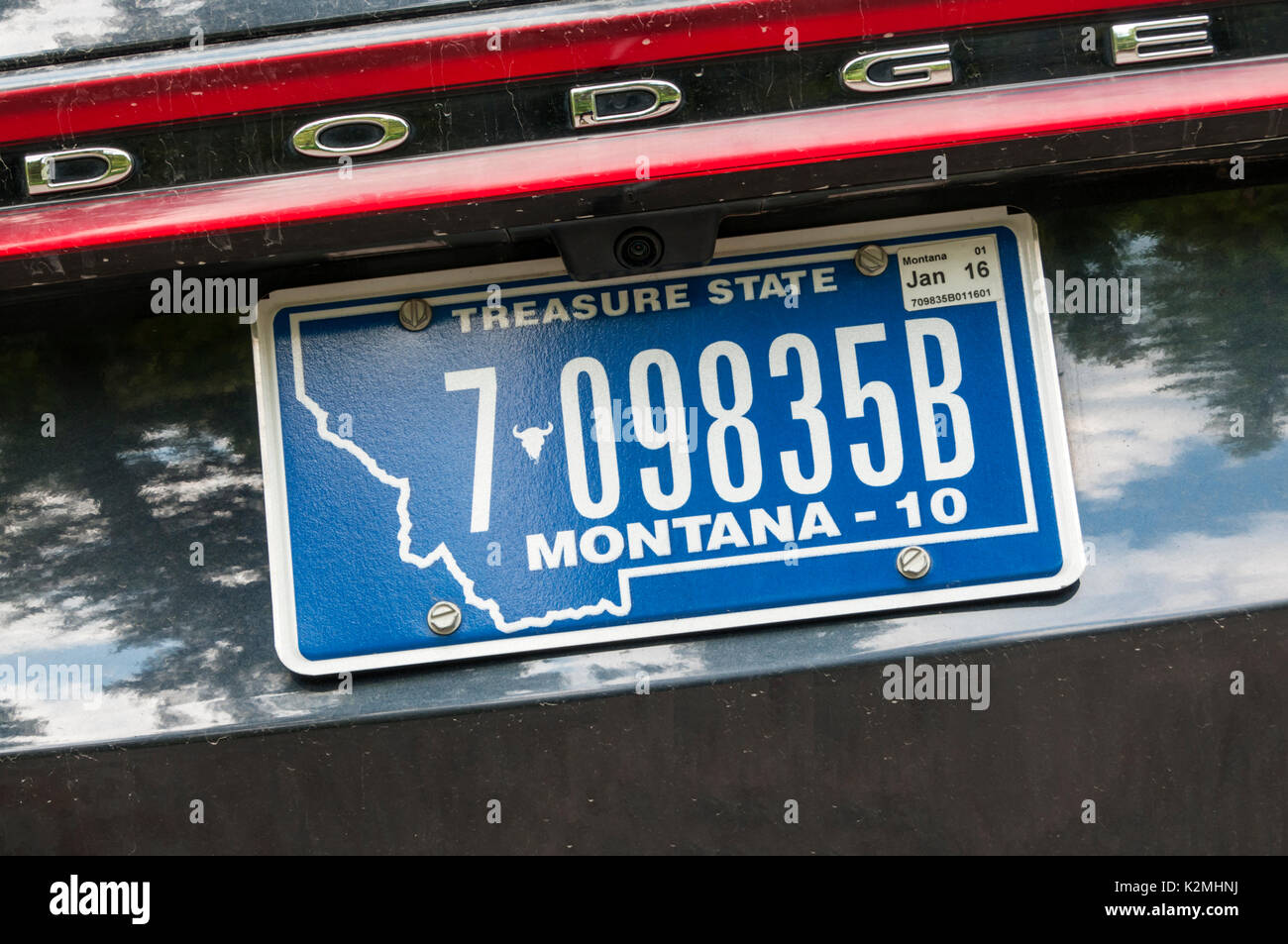 Montana license plate on a Dodge vehicle - Stock Image