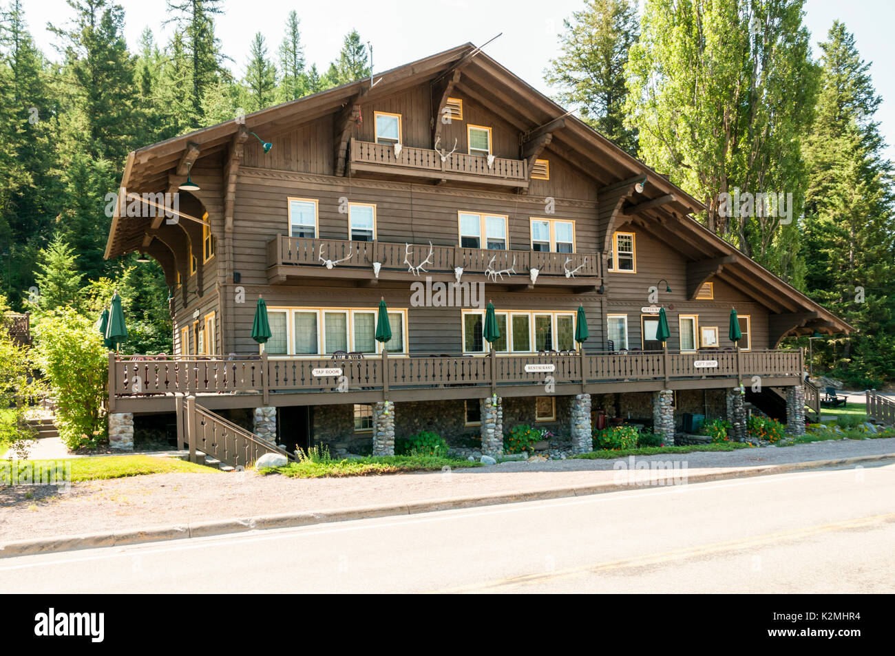 Belton Hotel in West Glacieer. A historic railroad hotel in Glacier National Park, Montana, USA - Stock Image