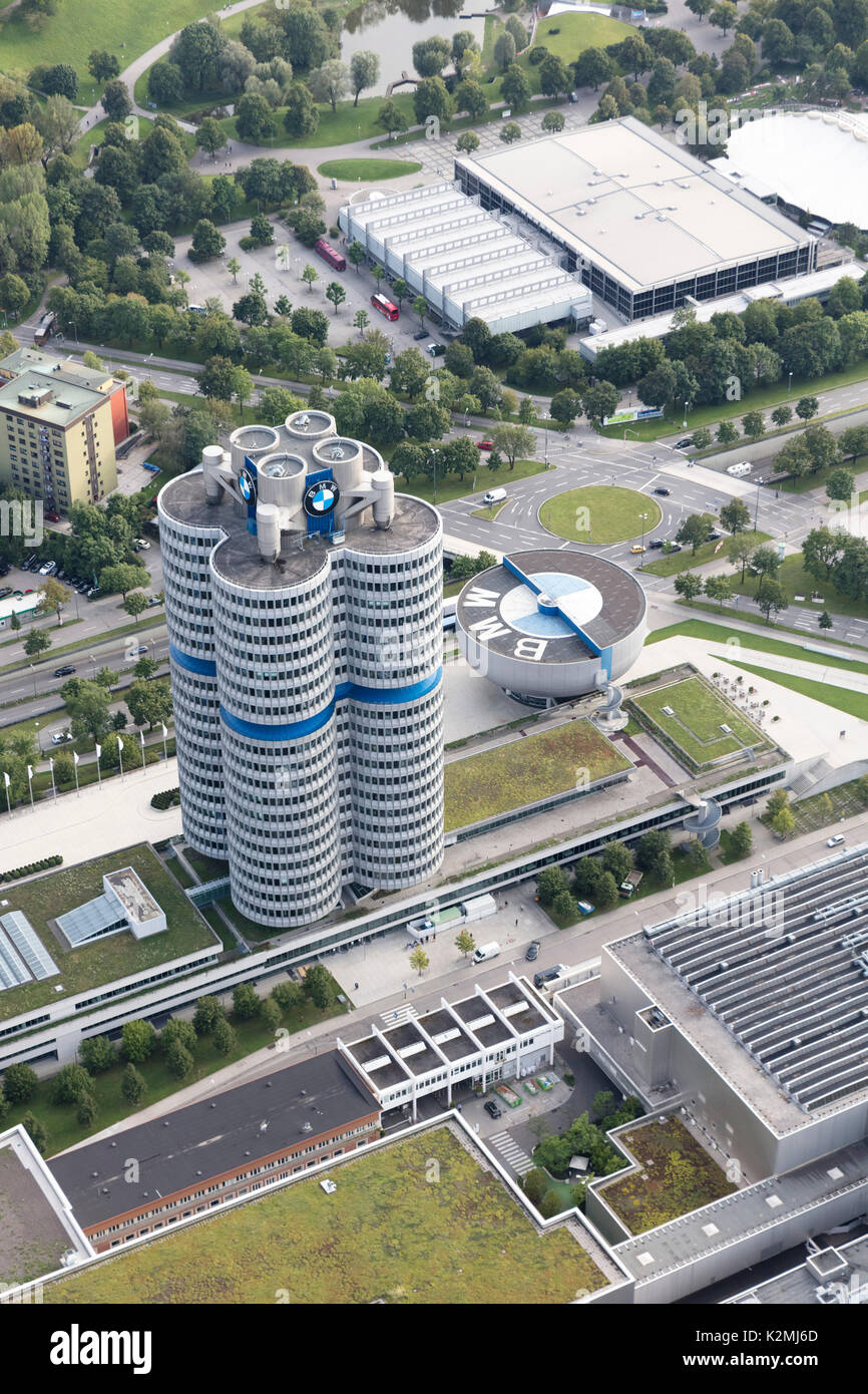 aerial view of BMW Headquarters and Museum, Am Riesenfeld, Munich, Germany - Stock Image