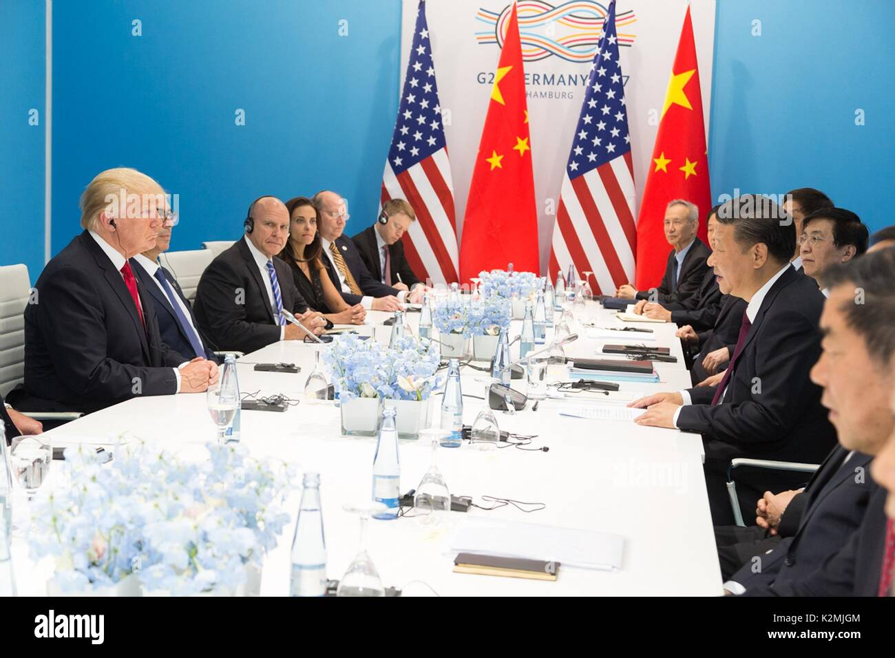 U.S. President Donald Trump during a bilateral meeting with Chinese President Xi Jinping on the sidelines of the G20 Summit July 8, 2017 in Hamburg, Germany. - Stock Image