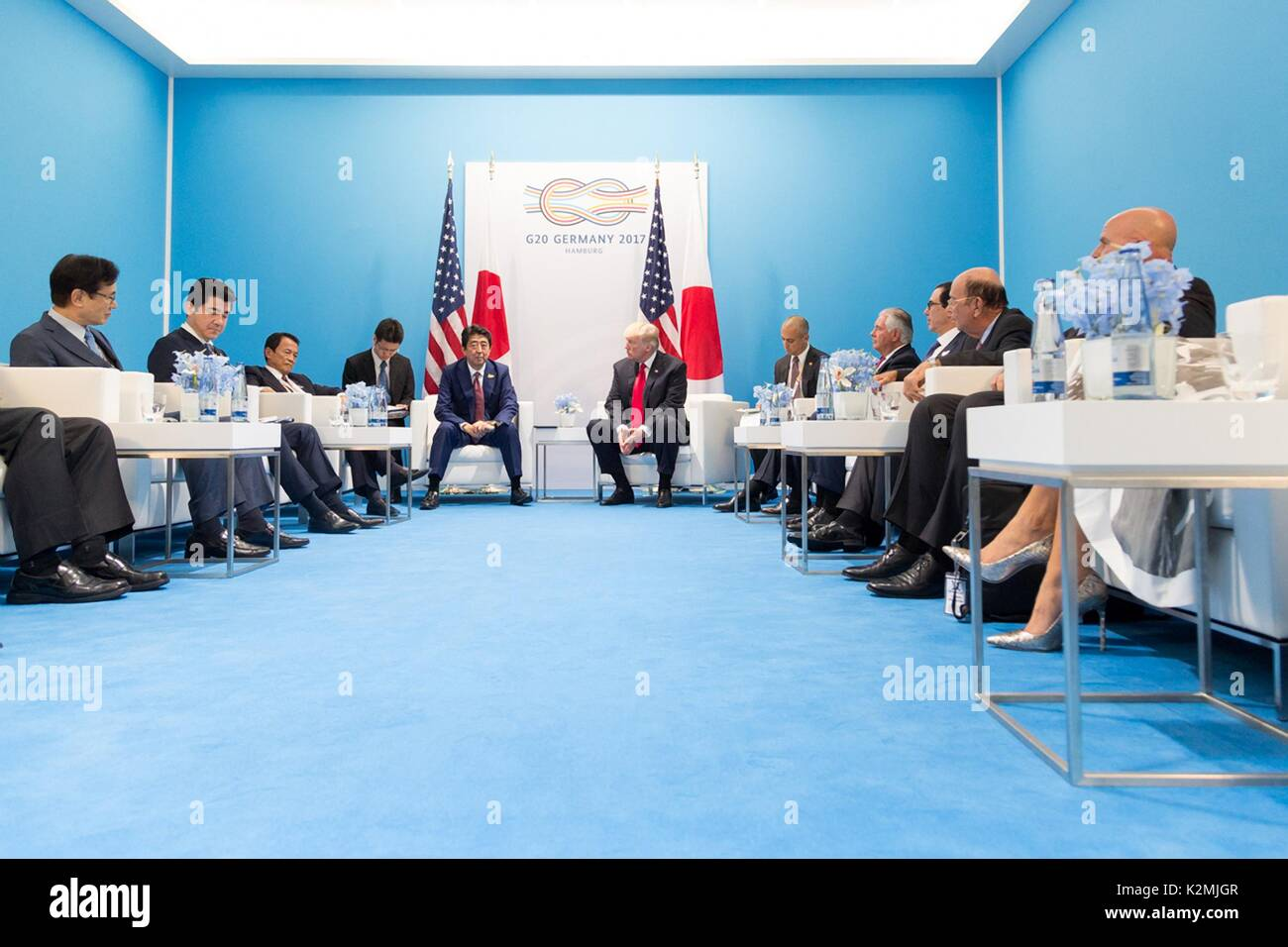 U.S. President Donald Trump and Japanese Prime Minister Shinzo Abe before the start of their bilateral meeting on the sidelines of the G20 Summit July 8, 2017 in Hamburg, Germany. - Stock Image