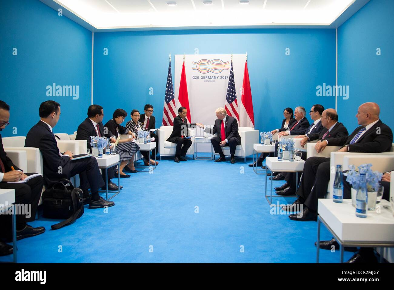 U.S. President Donald Trump and Indonesian President Joko Widodo before the start of their bilateral meeting on the sidelines of the G20 Summit July 8, 2017 in Hamburg, Germany. - Stock Image