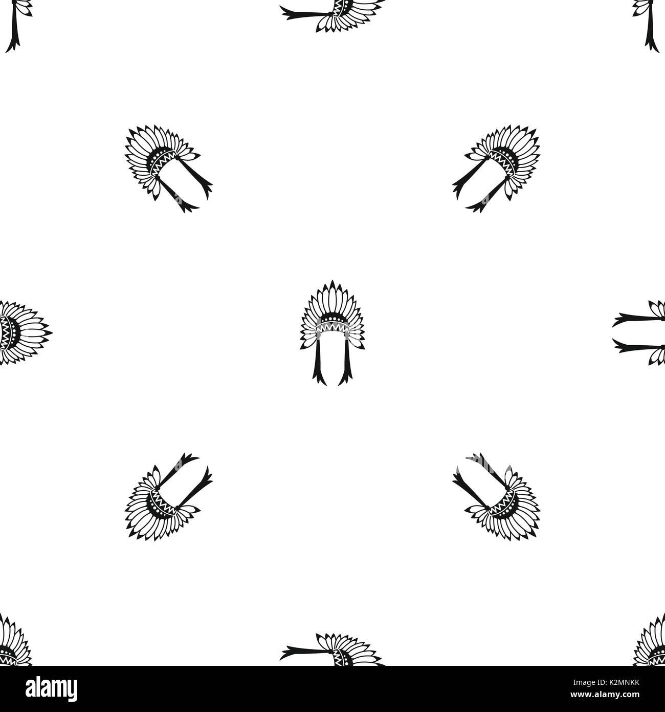 Indian headdress pattern seamless black - Stock Image