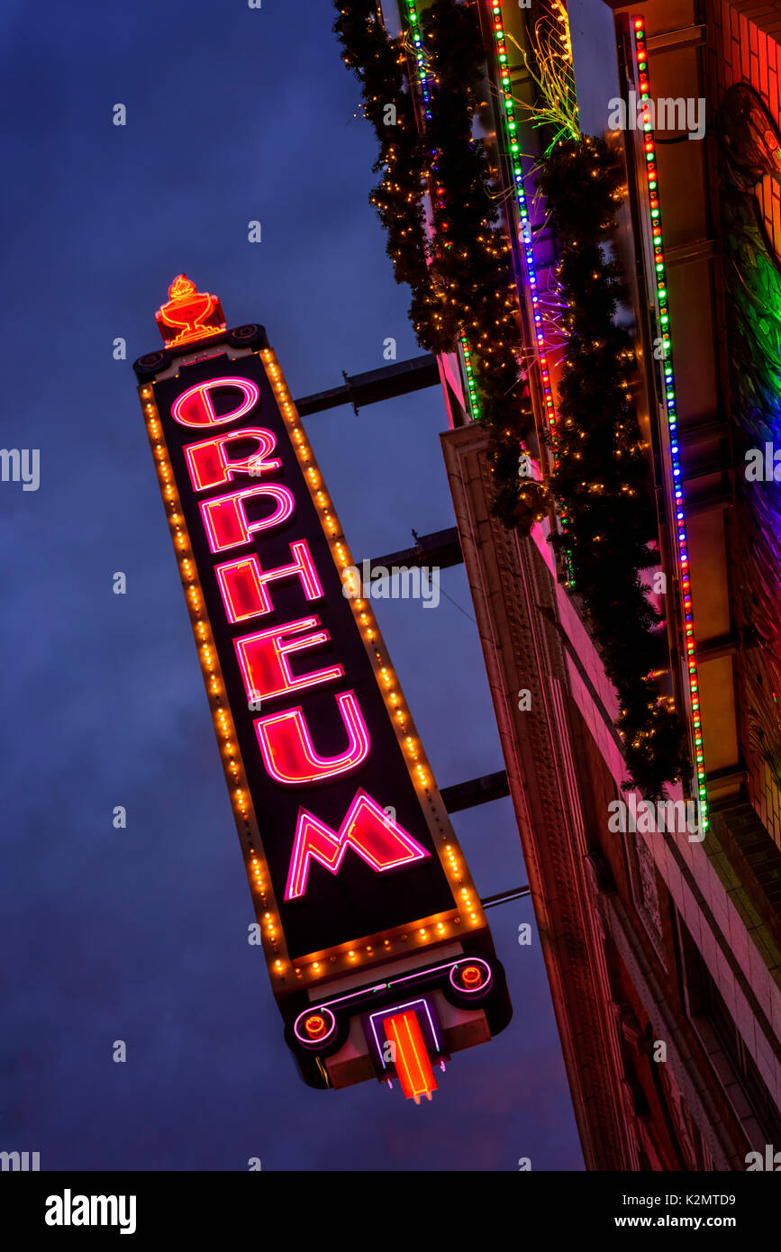 The historic Orpheum Theater sign  in Minneapolis, MN. - Stock Image