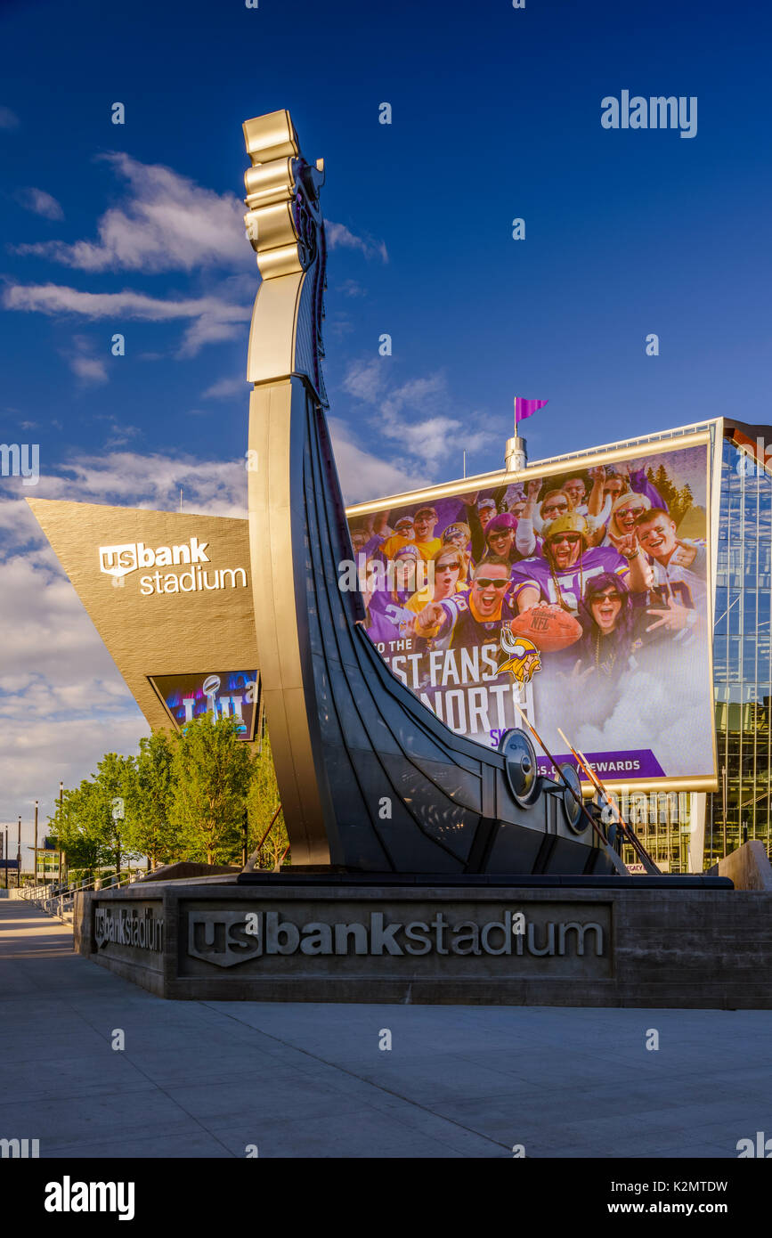 Viking ship sign outside the USBank Stadium in Minneapolis, MN. - Stock Image