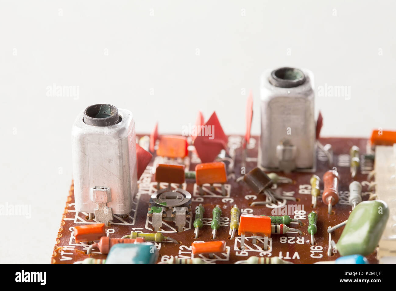Circuit Board Soldering Resistors Stock Photos Old Electronics Royalty Free Photo Image Capacitors Close Up Selective Focus Vintage Design And Colorful