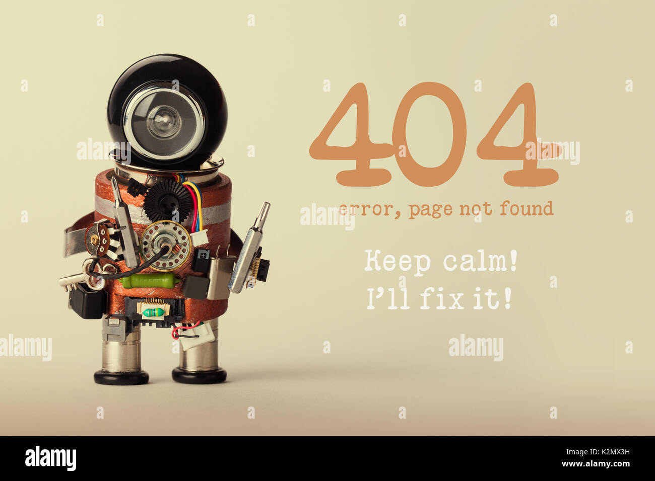 Page not found template for website. Robot toy repairman with screwdriver and 404 error warning message Keep calm I will fix it. Beige gradient background. - Stock Image