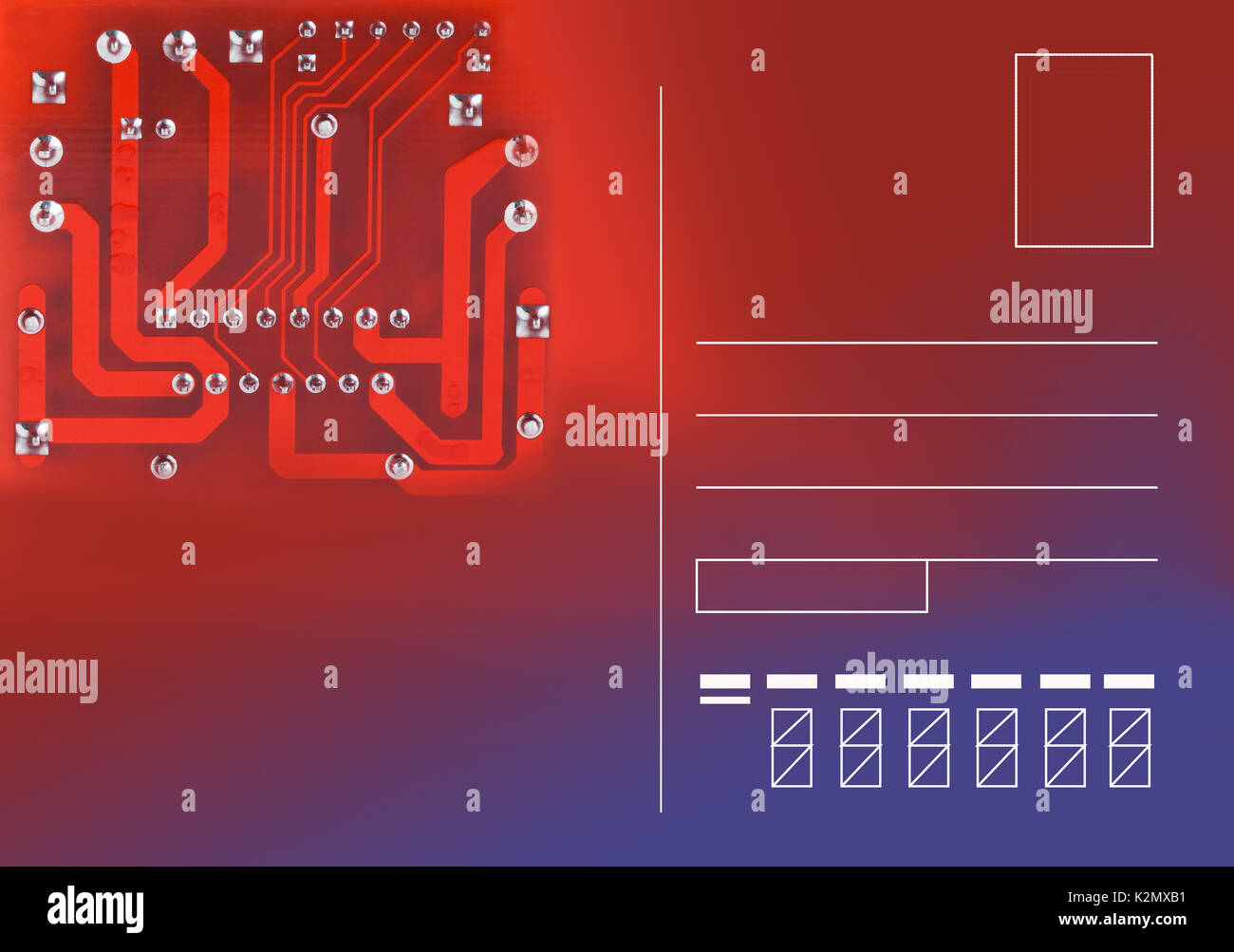 Modern Postcard Template With Electronic Circuit Chip Email Blank Concept Computer Micro Hardware Component On Red Violet Gradient Background