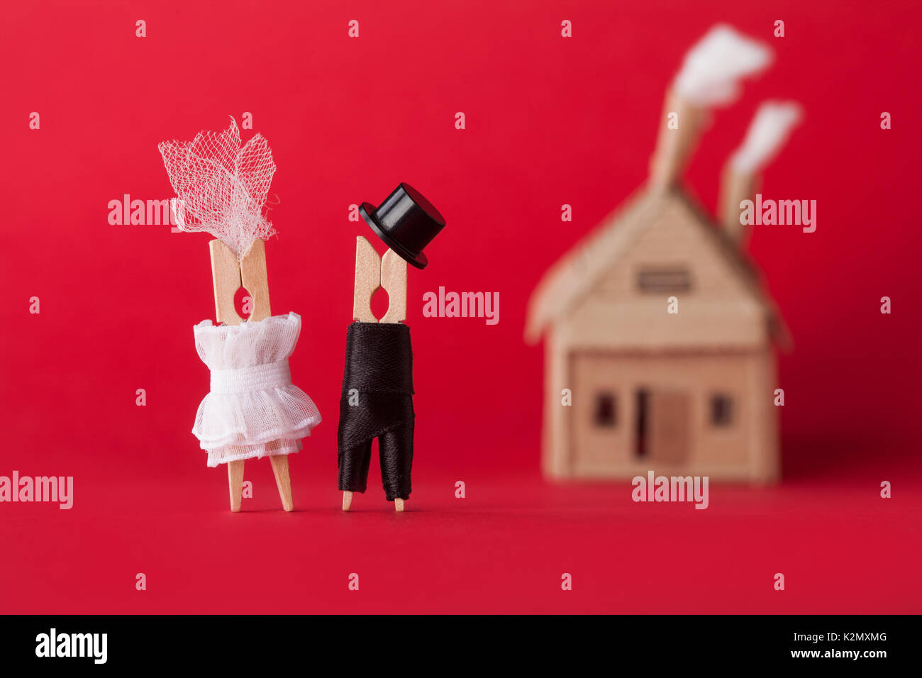 Wedding invitation and love concept. Bride groom clothespin peg ...