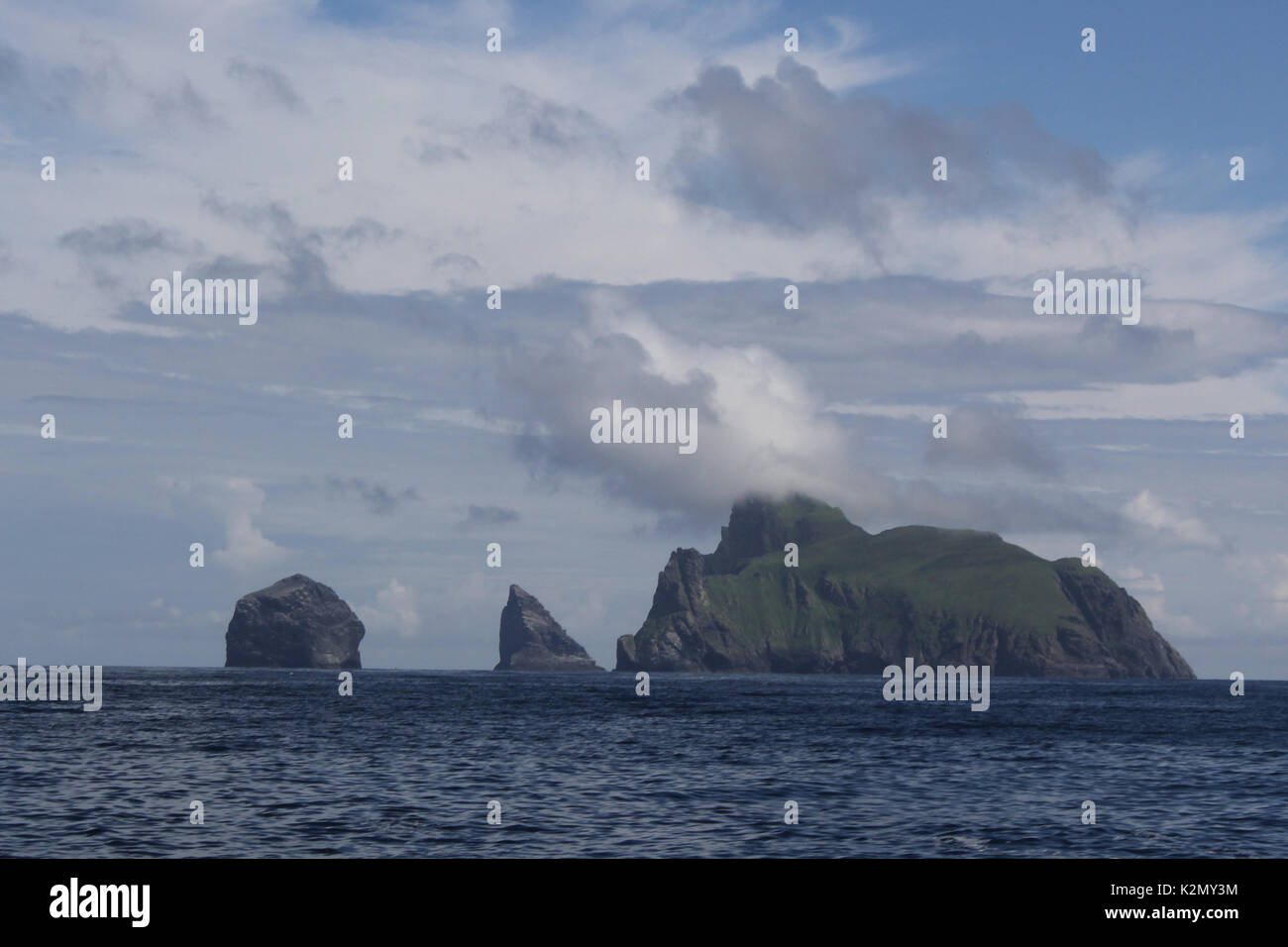 boreray and stacs viewed from the gap st kilda - Stock Image