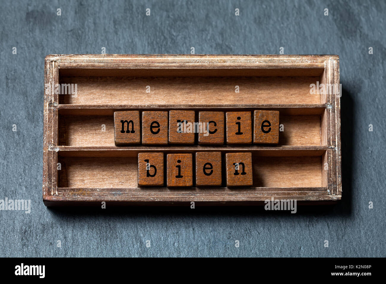Mercie bien. Thank you very much written in French translation. Vintage box, wooden cubes phrase with old style letters. Gray stone textured background. Close-up, up view, soft focus. - Stock Image