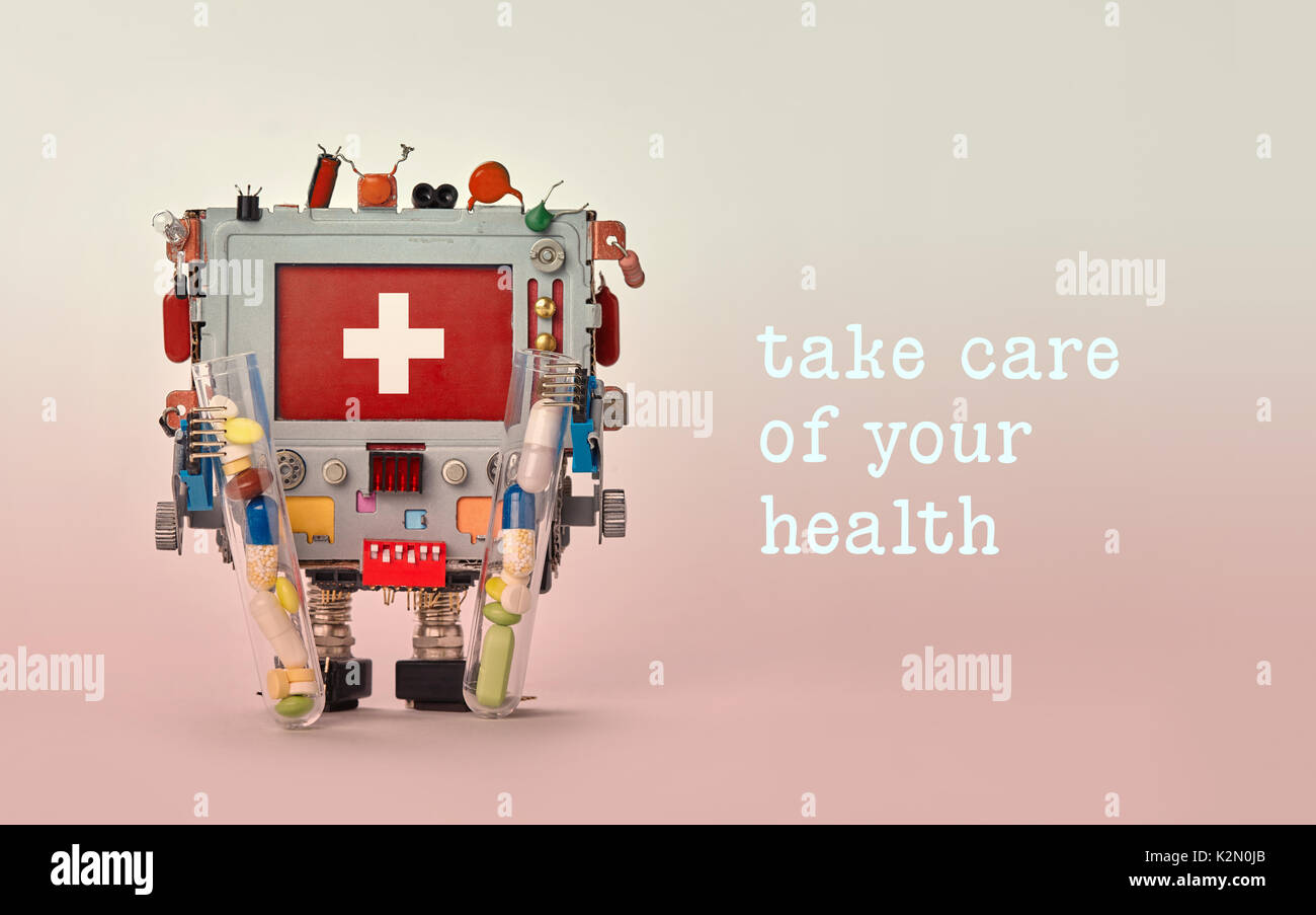 Take care of your health advertisement template poster. Medical first aid robotic monitor red display. Friendly toy character, set of colorful pills drugs in arms. - Stock Image