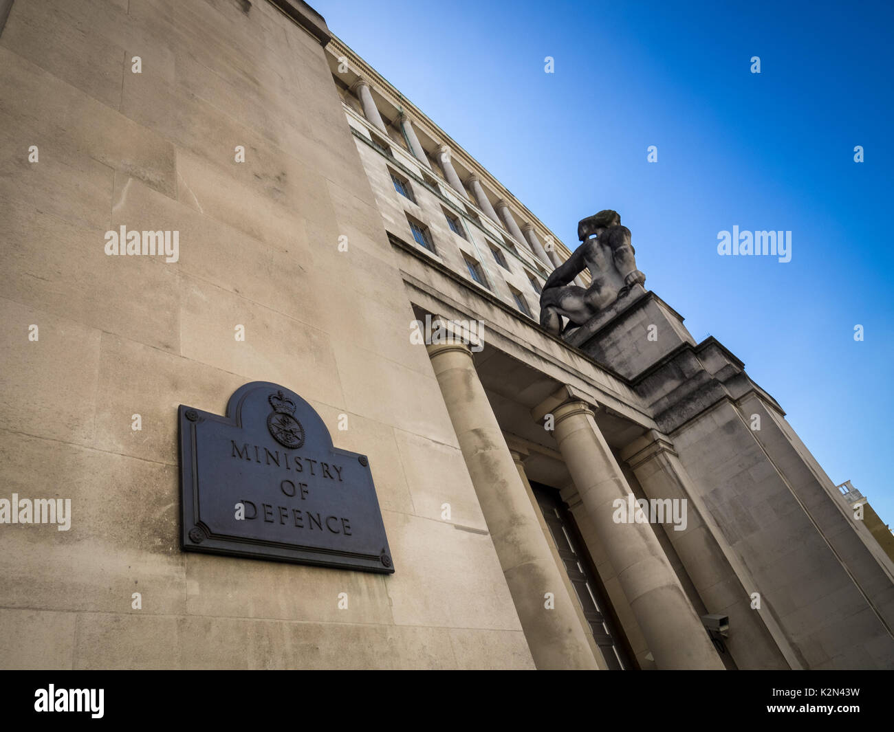Ministry of Defence London ( MOD ) building in Whitehall and Horse Guards Avenue in central London UK - Stock Image