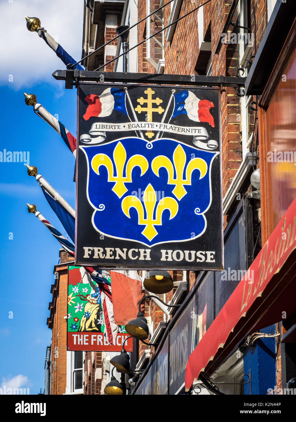 The famous French House, 49 Dean Street, Soho, London, well known as a haunt of artists and writers. - Stock Image