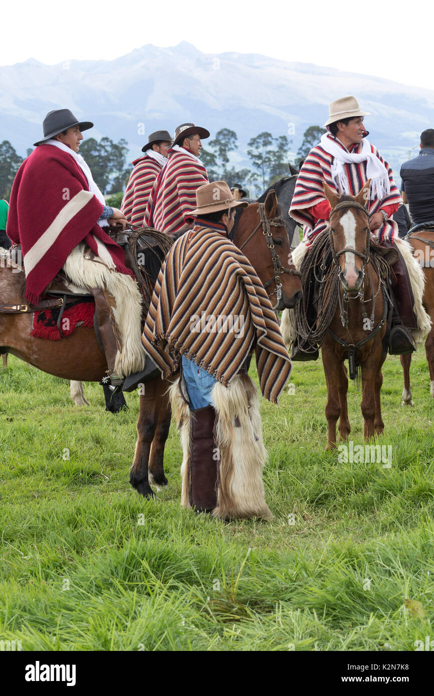 June 3, 2017 Machachi, Ecuador: a group of cowboys from the Andes called 'chagra' on horse back outdoors - Stock Image