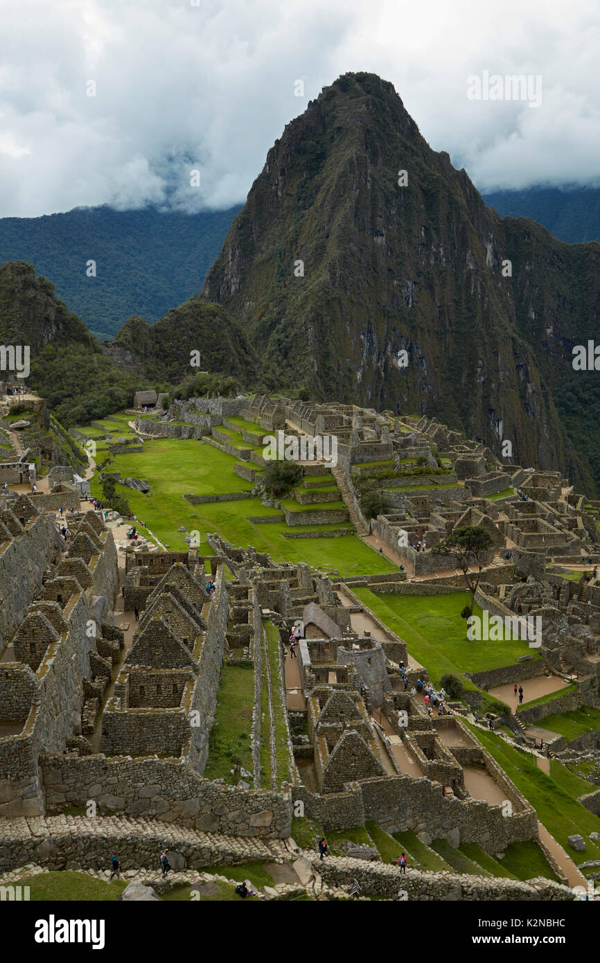 Machu Picchu 15th century Inca ruins (World Heritage Site), Sacred Valley, Peru, South America - Stock Image