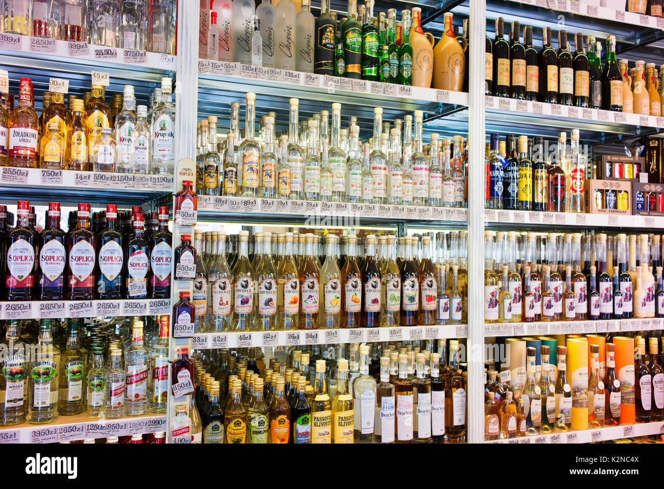 A wide variety of alcohol available at a bottle shop in central Krakow. - Stock Image