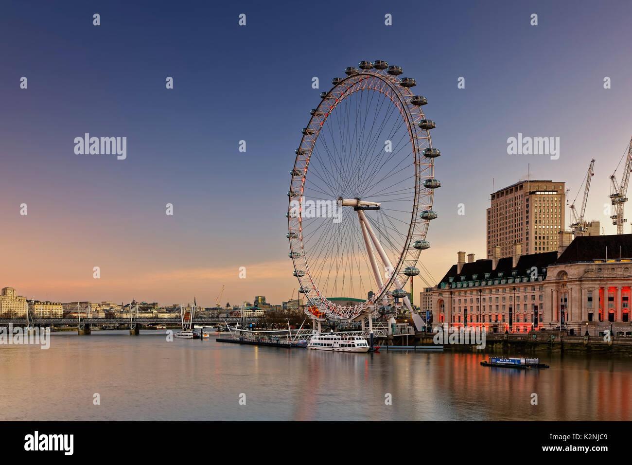 London Eye, Ferris Wheel on the River Thames, London, England, United Kingdom - Stock Image